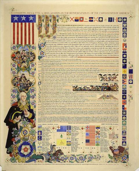 Declaration of Independence. Note the Washington artwork-- Library of Congress