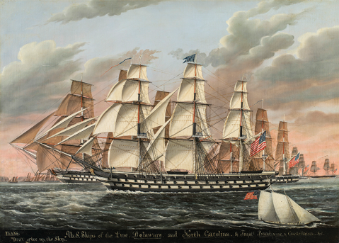 """James Guy Evans (United States, born England, circa 1810–1860) U.S. Ships of the Line """"Delaware"""" and """"North Carolina"""" and Frigates """"Brandywine"""" and """"Constellation,"""" circa 1835–60 Oil on canvas, 31¾ x 44⅛ inches New-York Historical Society; The Alabama was the sistership to the two '74s shown here, Delaware and North Carolina, though she never shipped in this configuration."""