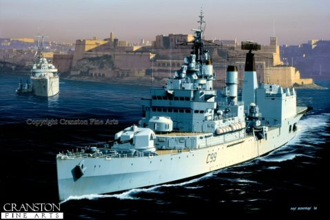 HMS Blake by Ivan Berryman. The newly converted Command Helicopter Cruiser HMS Blake leaves Grand Harbour Malta at the end of the 1960s. In the background, the old Submarine Depot ship HMS Forth lies at anchor at the very end of her long career.