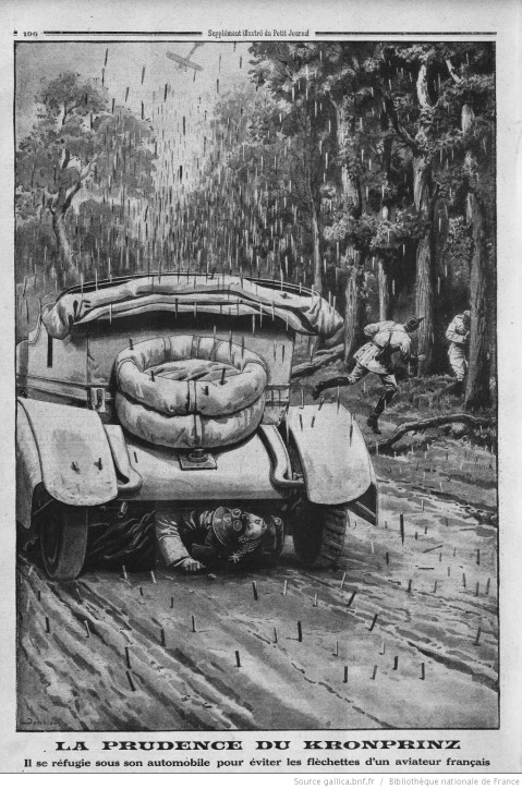 German Crown Prince takes cover under his car from darts dropped by a French plane.  Illustration from the Petit Journal, August 1915