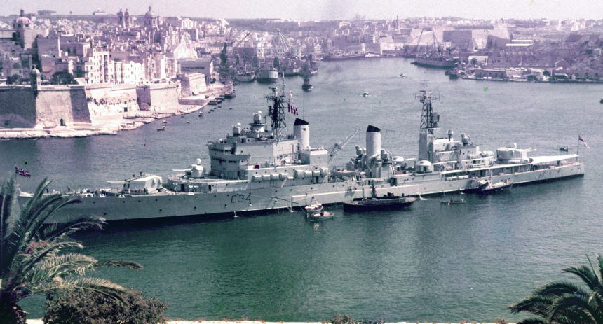 HMS Lion in Malta early 1960s. Tiger and Blake shared the same outline at the same time