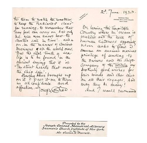 Joseph Conrad letter