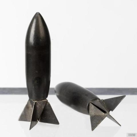'Lazy Dog' anti-personnel flechette of the type dropped by the United States Air Force during the war in Vietnam (1962-1975). The flechette was delivered via a Mk 44 Cluster Bomb (which held at least 10,000 flechettes). The Mk 44 opened in mid-air after release, so that the flechettes (or 'aerial darts') were then dispersed over the target where they inflicted damage by penetration of soft targets. http://www.iwm.org.uk/collections/item/object/30024657