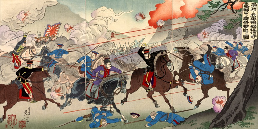 Picture of Our Valorous Military Repulsing the Russian Cossack Cavalry on the Bank of the Yalu River by Watanabe Nobukazu, March 1904