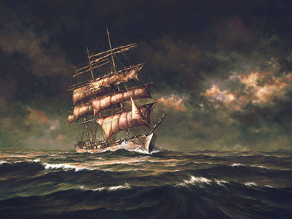 """Prints of http://www.paulmcgeheeart.com/pages/StormyPassage.htm """"Stormy Passage"""" by Paul McGehee show the square-rigged ship """"Tusitala"""" in rough seas."""