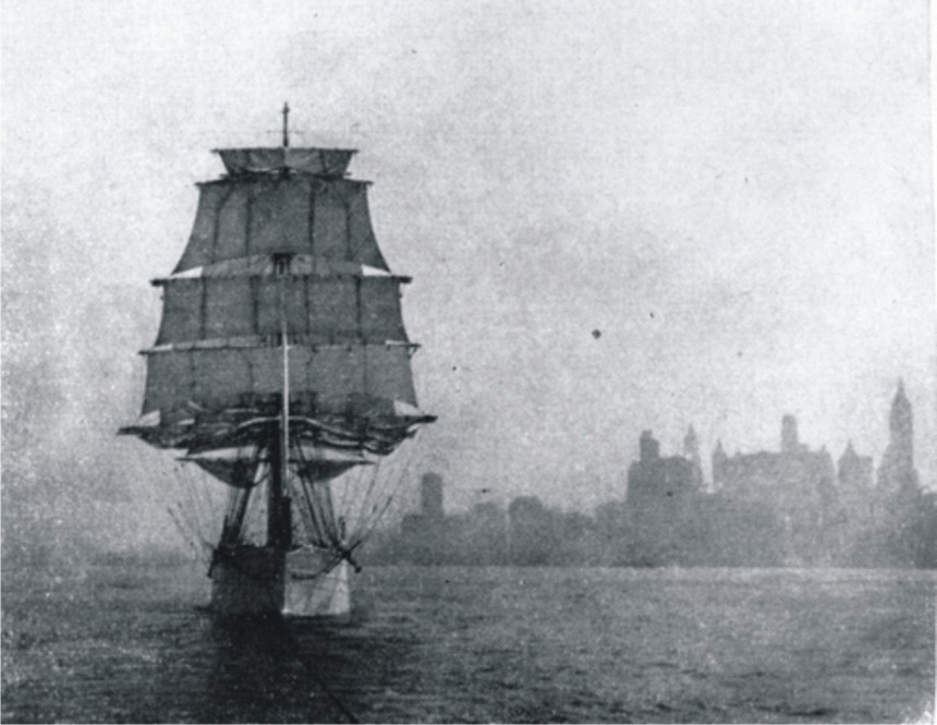 Outward boynd, the Tusitala's sails are set and sheeted home one by one as the tug takes her to sea, by Roger Dudley from her 1932 voyage
