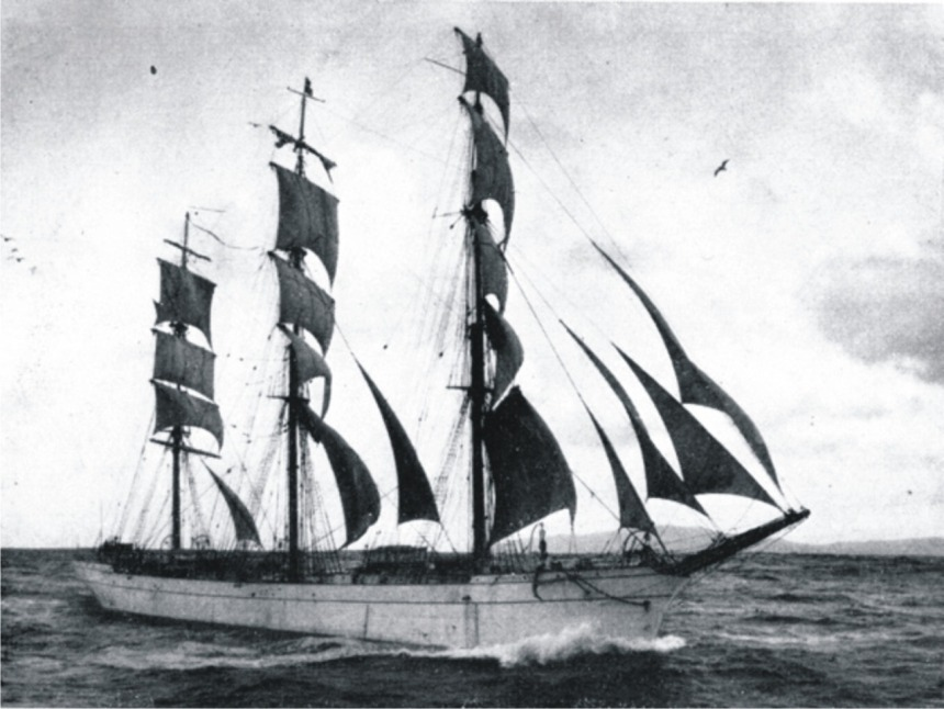 """With main and mizzen royals furled and cross-jack unbent, the """"Tusitala"""" makes the best of a fair wind (left) by Roger Dudley from her 1932 voyage"""