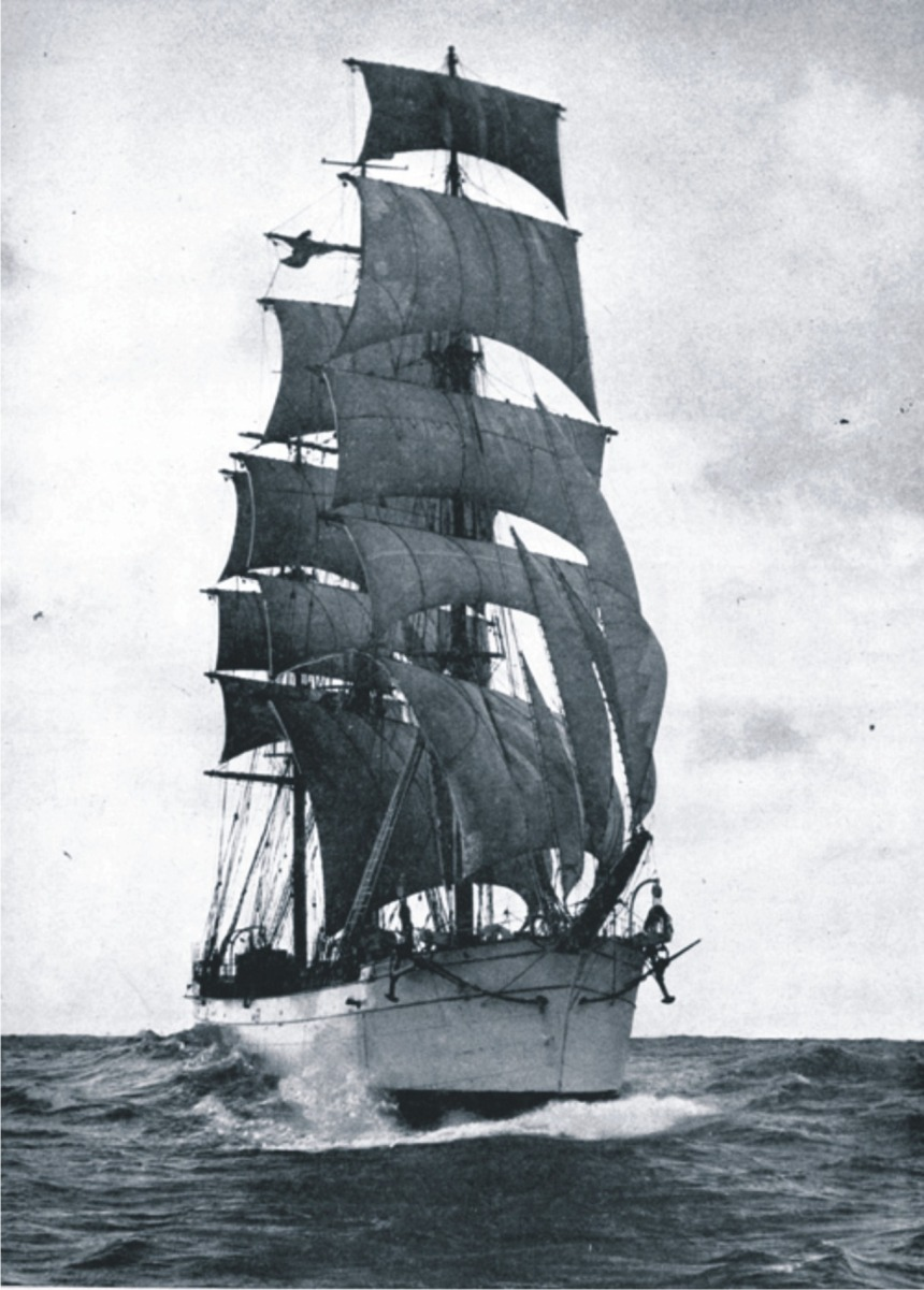 Furling the royal-- four hands out on the yard passing the gaskets, by Roger Dudley from her 1932 voyage