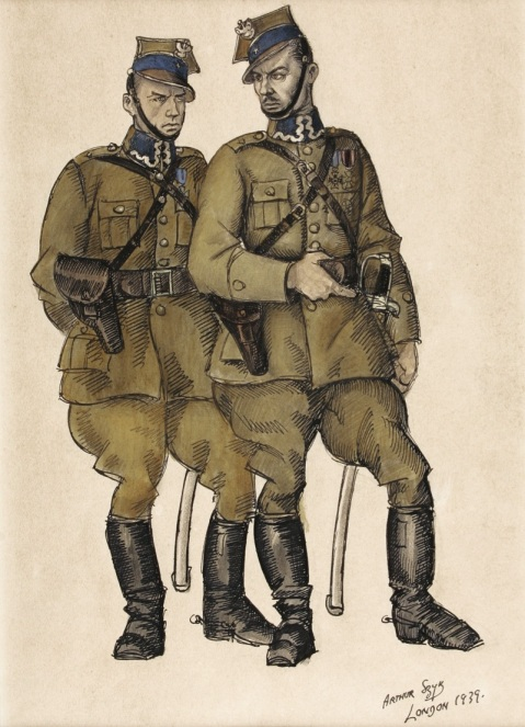 Two polish officers. Szyk knew firsthand the Polish army as he was one of its first officers in 1919.