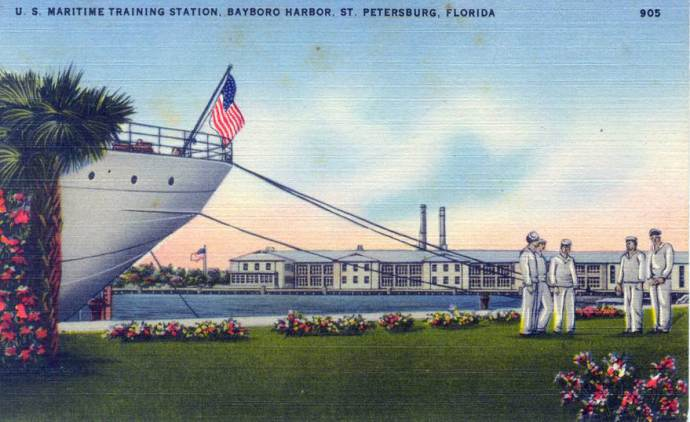 Cadets seen in a postcard from the USMSTC-- the stern of the white hulled Tusitala very visible to the left