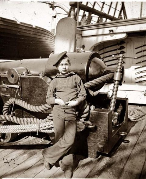 USS New Hampshire in Charleston, South Carolina, in 1864 powder monkey same cutlasses same cannon