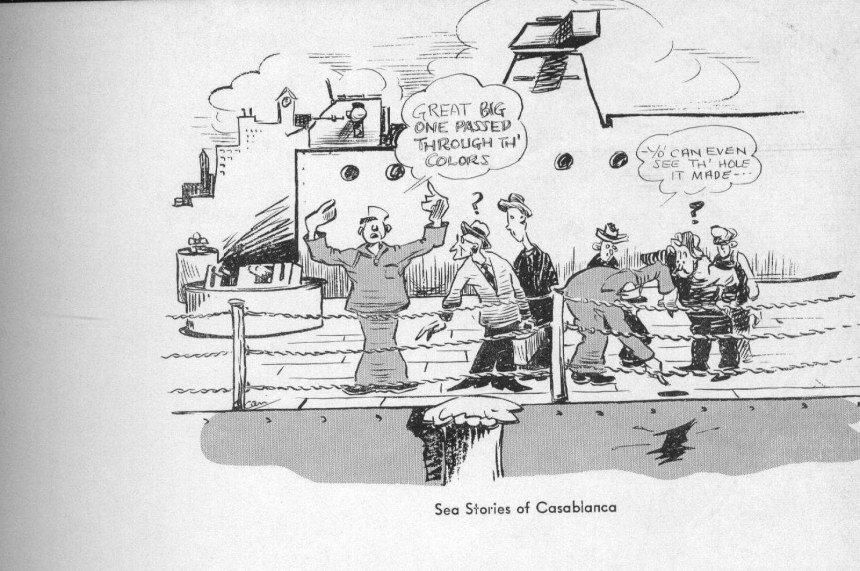 A cartoon from the BB-59's cruise book recounting how close the Jean Bart's shells came to wrecking her day. USN photo courtesy of James E. Hesson, plank-owner of the Massachusetts (BB-59). Photo submitted in his memory by his son, Joe Hesson. Via Navsource