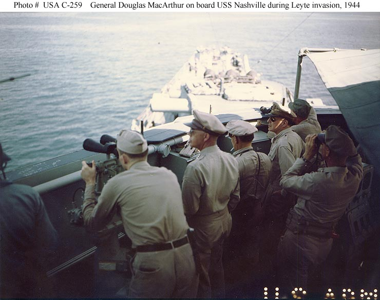 Leyte Invasion, October 1944 - General Douglas MacArthur (right, seen in profile) on the bridge of USS Nashville (CL 43), off Leyte during the landings there in late October 1944. Standing in the center (also seen in profile) is Lieutenant General George C. Kenney. Photograph from the Army Signal Corps Collection in the U.S. National Archives - USA C-259