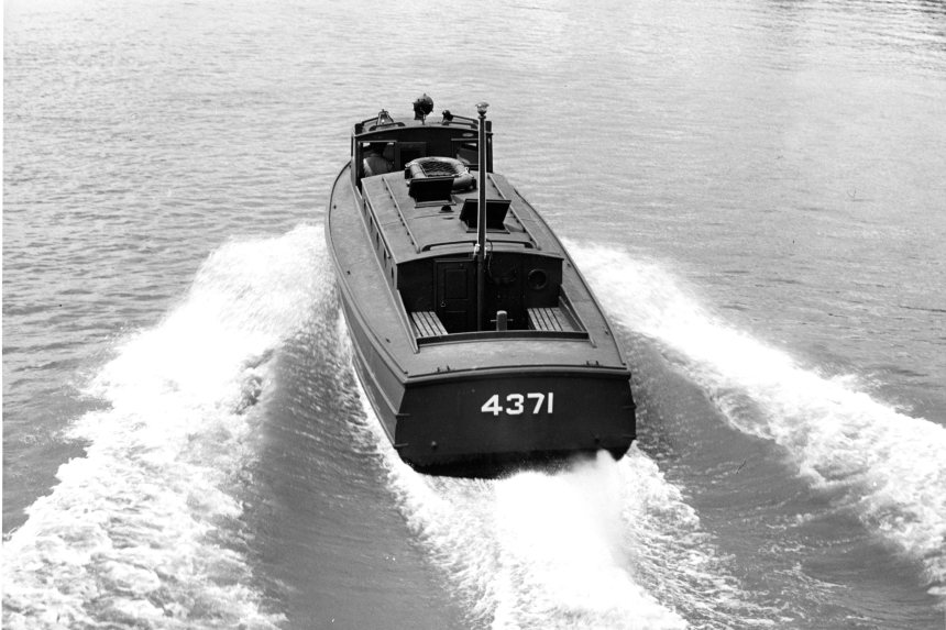 The 38 foot cabin picket boat, CG-4371. Click to very much big up. USCG Photo