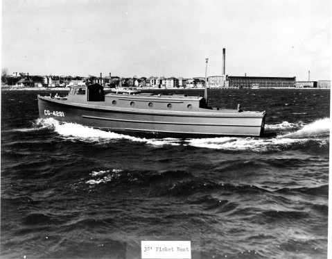 The 38 foot cabin picket boat. Click to very much big up. USCG Photo