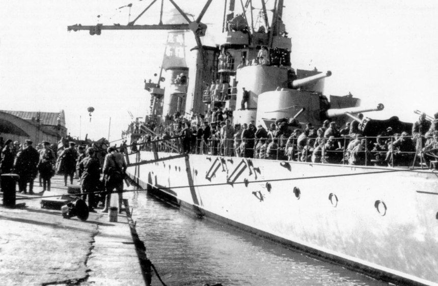 The light cruiser often carried as many as 1,800 troops on her runs across the Black Sea