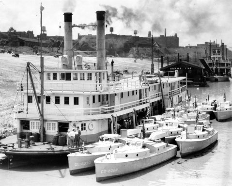 A dozen Coast Guard picket boats muster beside the former CGC Yocona on the Mississippi River during The Great Ohio, Mississippi River Valley Flood of 1937 http://coastguard.dodlive.mil/2011/06/the-great-ohio-mississippi-river-valley-flood-of-1937/ . U.S. Coast Guard photo. Yocona was a 182-foot Kankakee- class stern paddle wheelers built for the Coast Guard in 1919 and stationed at Vicksburg. Click to big up