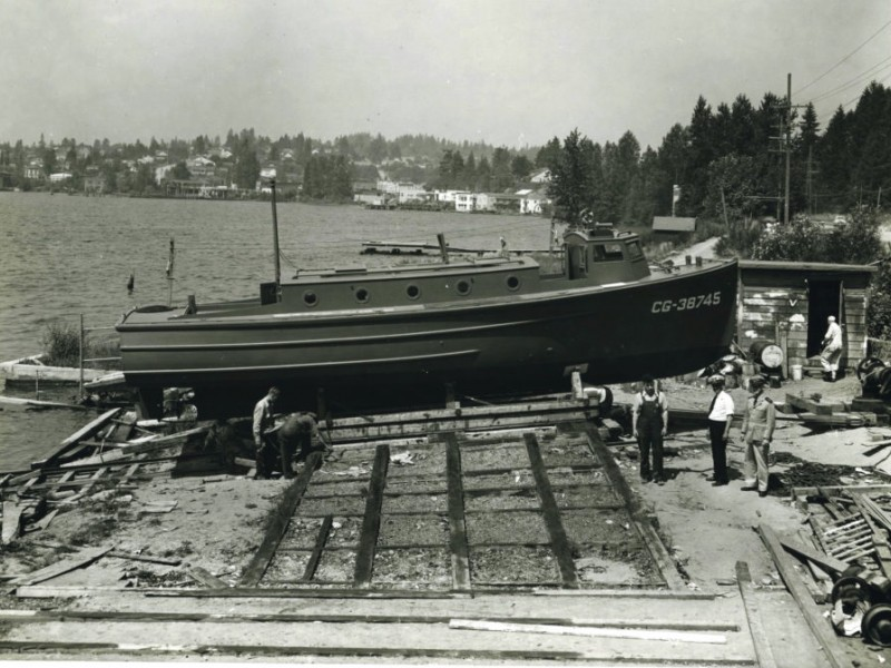 1943 photo from the archives of the Kirkland Heritage Society showing a 38 under construction near Seattle in 1942