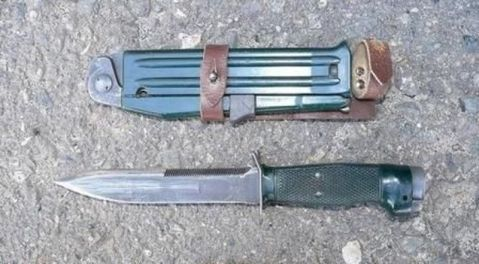 The knife is similar to a AKM style one often encountered in the Warsaw Pact