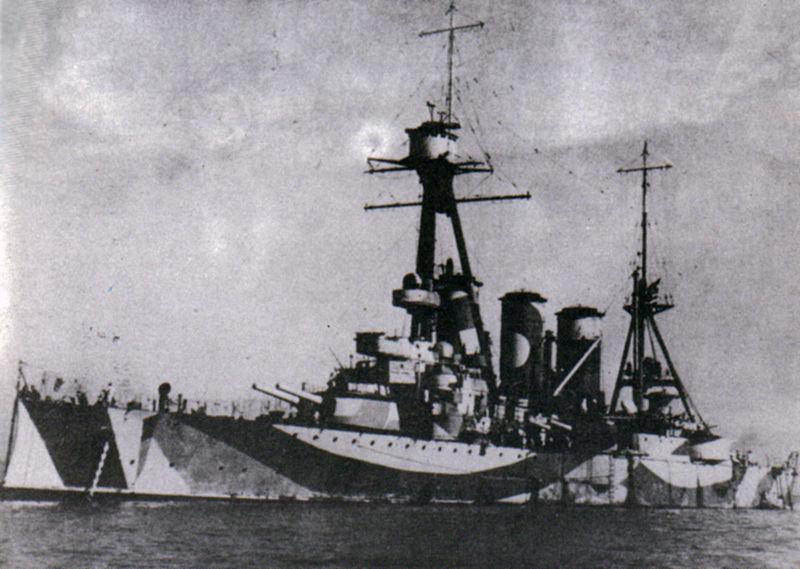 Averoff in WWII under British orders, note typical RN camo scheme