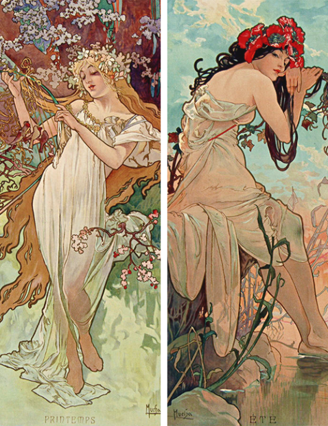 Alphonse Mucha The Seasons, 1896, Spring and Summer .