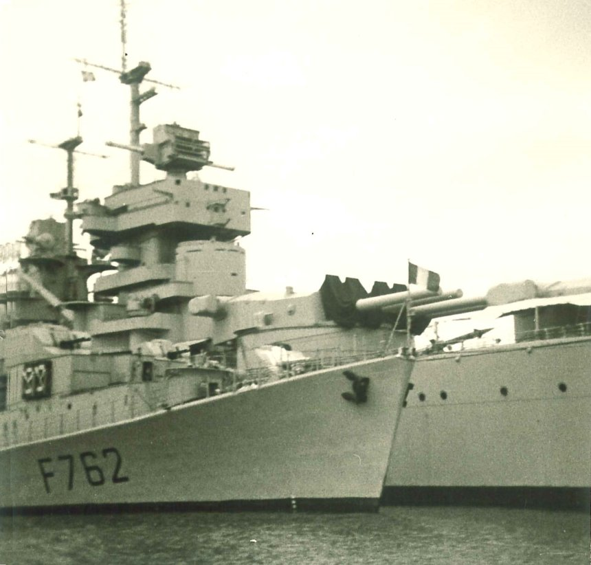Battleship Jean Bart in Harbour of Toulon 1968