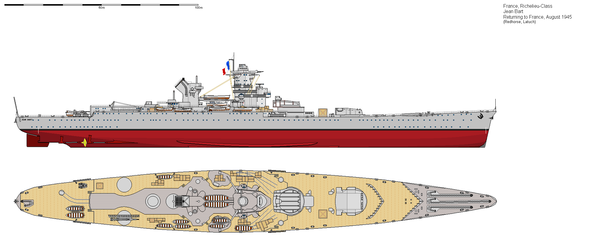 How she looked in 1945 with wartime repairs and no armament fitted via Ship Bucket http://www.shipbucket.com/images.php?dir=Real%20Designs/France/BB%20Jean%20Bart%201945.png click to very much big up