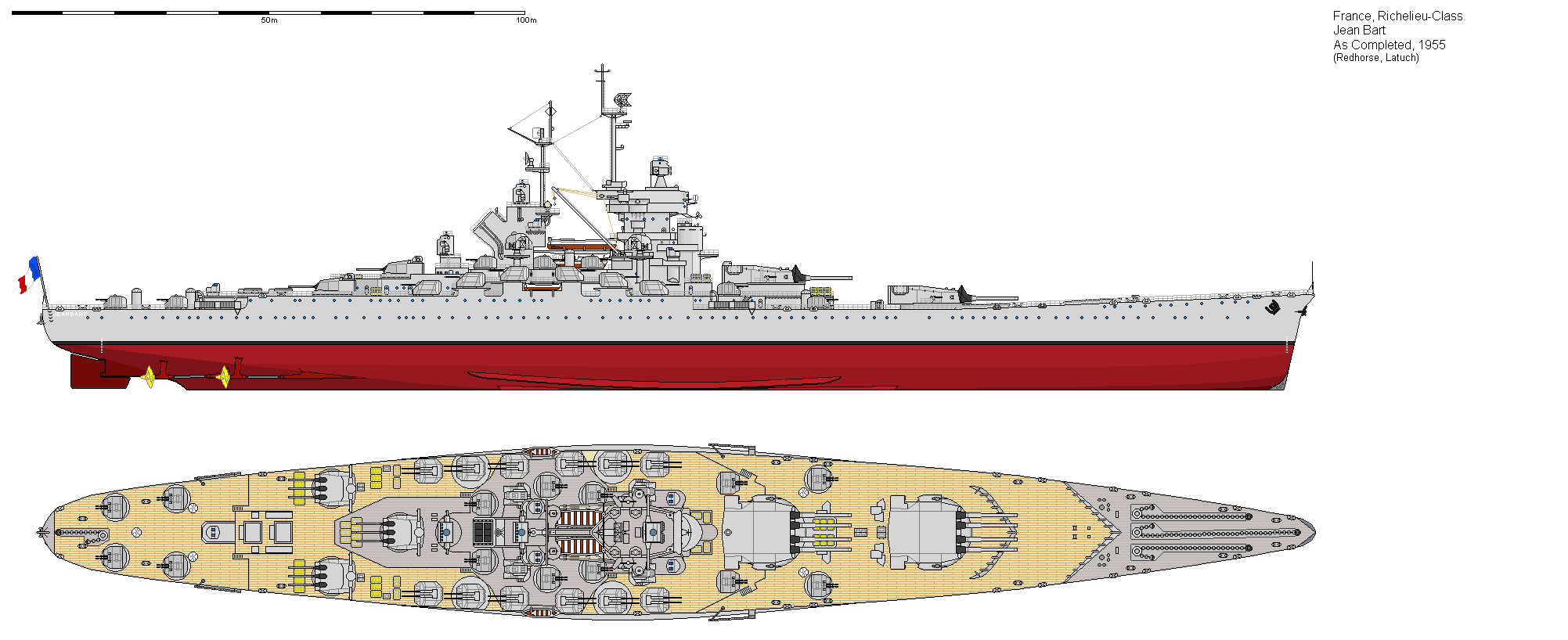 Jean Bart in her final form 1955 via Shipbucket http://www.shipbucket.com/images.php?dir=Real%20Designs/France/BB%20Jean%20Bart%201955.png click to very much big up