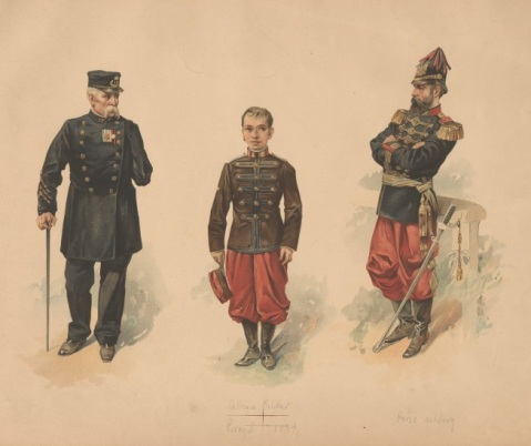 Brazilian uniforms, c. 1894 Mucha, Alphonse (artist) 1st in pair of chromolith. pl. after Mucha; uniform figures of veteran, cadet of Colegio Militar, and horse artillery officer. Via the Anne S.K.Brown Military Collection at Brown University.