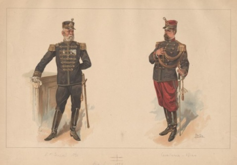 Brazilian uniforms, c. 1894 Mucha, Alphonse (artist) 2nd in pair of chromolith. pl. after Mucha; 2 uniform figures of general staff officer, cavalry officer. Via the Anne S.K.Brown Military Collection at Brown University.