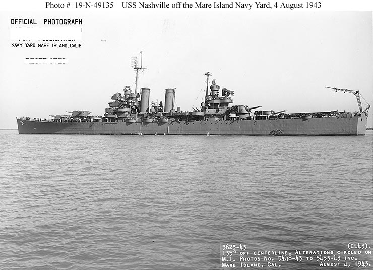 Broadside view of the USS Nashville (CL 43) off Mare Island on 4 August 1943. She was in overhaul at the shipyard from 4 June until 7 August 1943. U.S. Navy Photo #5624-43.