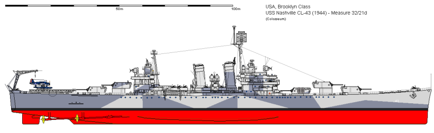 Nashville, 1944 in her measure 32/21d camo scheme by http://www.shipbucket.com/images.php?dir=Real%20Designs/United%20States%20of%20America/CL-43%20Nashville%201944.png Ship Bucket