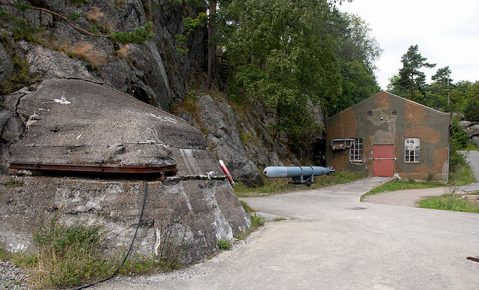 All that is above ground of the secret Oscarborg torpedo battery. The six tubes themselves are below ground and were manned by reservists that morning that had never fired a live torpedo before!