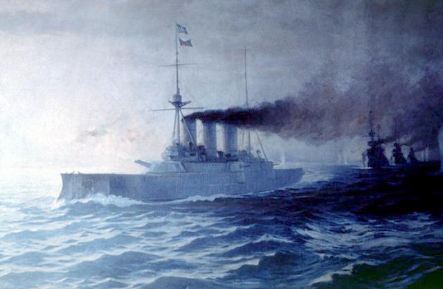 Elli naval battle, painting by Vasiileios Chatzis. Charging ahead to reach cut off the Ottoman line