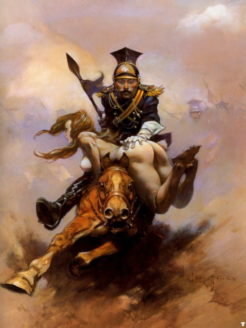 Flashman on the Charge novel cover art by Frank Frazetta