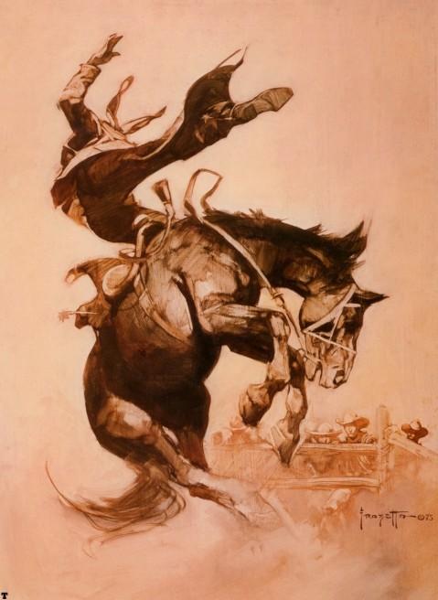 Bucking Bronco by Frank Frazetta