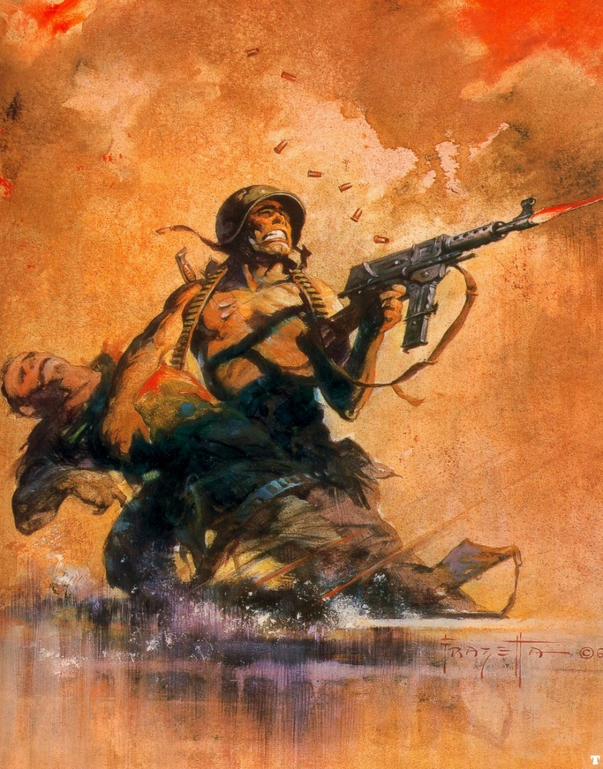 Combat, 1969 by Frank Frazetta. The French MAT-49 is great.