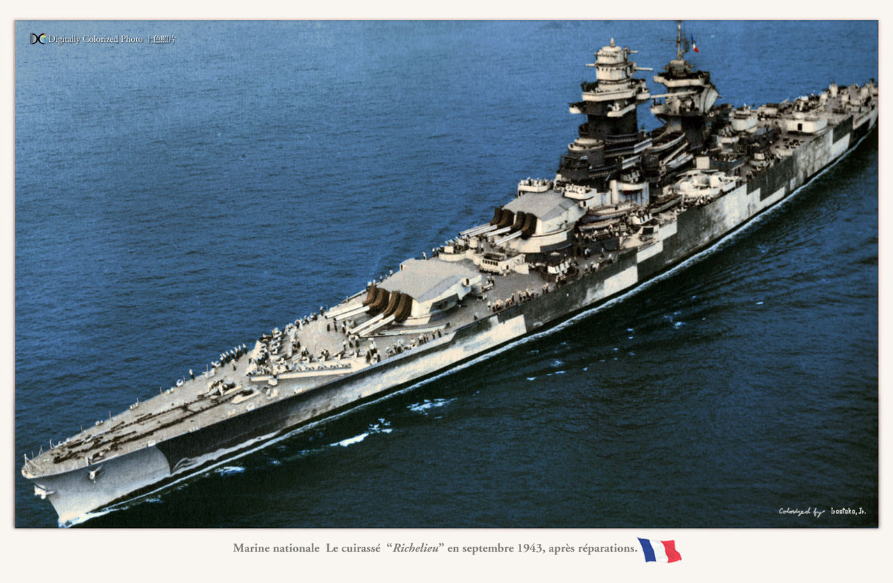 French battleship Richelieu at sea, September 1943 after her refit in New York. Half her main guns in this image came from Jean Bart and had fired at Casablanca. Click to big up