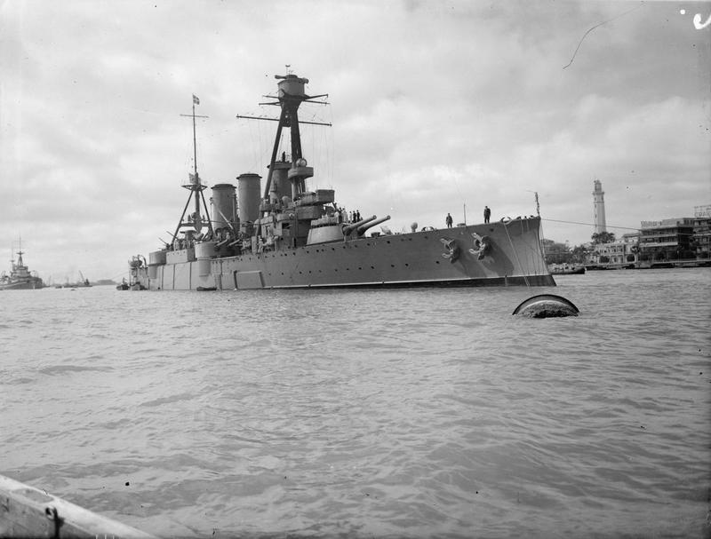 Georgios Averof at anchor at Port Said, Egypt, 23rd February 1943 via IWM