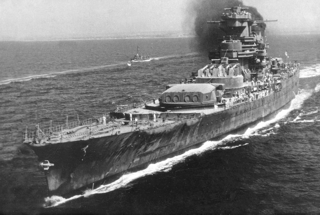 Incomplete French battleship Jean Bart sailing from Casablanca to Cherbourg for repairs in 1945