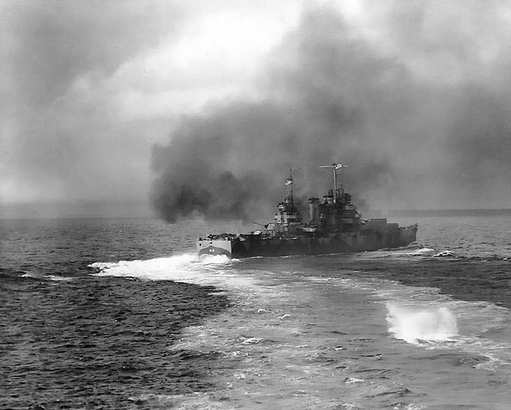 Nashville firing on Kiska, August 8th 1942; the bombardment was run in a racetrack pattern, and Nashville is just turning