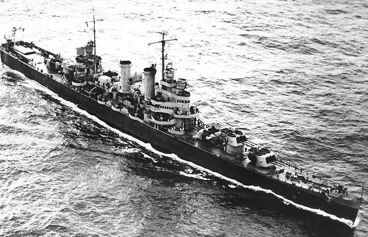 Overhead of USS Brooklyn CL-40 in June 1943. Note the turret configuration