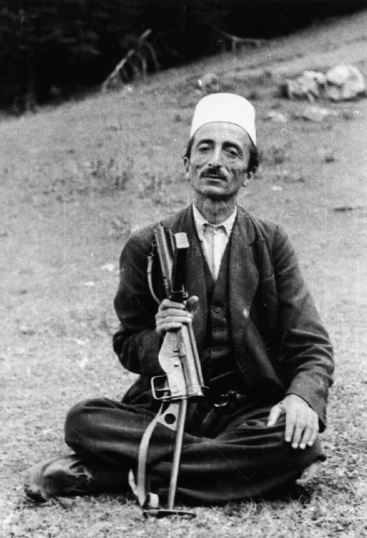 It wasnt just the French resistance that was armed with the STEN. Here, Dule Bey Allemani, an Albanian resistance chief, poses with his STEN gun provided by Allied SOE agents in July 1944