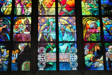 Stained glass by Mucha at St. Vitus, 1931