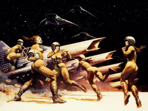Battlestar Gallactica 1976 artwork by Frank Frazetta