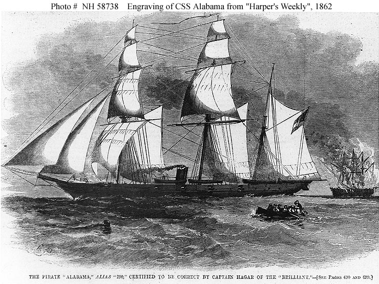 """""""The Pirate 'Alabama,' Alias '290,' Certified to be correct by Captain Hagar of the 'Brilliant'"""" Line engraving published in """"Harper's Weekly"""", 1862, depicting CSS Alabama burning a prize in Harper's Weekly.US Naval History and Heritage Command photo # NH 58738"""