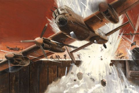 Mort Kunstler, 1,000 to 1 Shot of Guy Gibson's Dam Busters,, February 1962. Via Heritage Auctions http://fineart.ha.com/itm/illustration-art/mort-kunstler-american-b-1931-as-emmett-kaye-1-000-to-1-shot-of-guy-gibson-s-dam-busters-andlt-/a/7015-87033.s