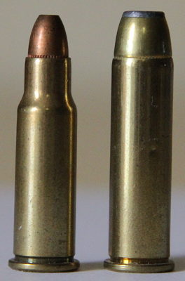 256 Winchester Magnum cartridge on the left and a .357 Magnum cartridge on the right. Via Wiki
