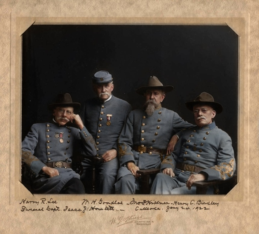 4 Confederate Veterans of the American Civil War, the man on the left can be seen wearing the southern version of the Medal of Honor, the Southern Cross of Honor, ca. 1922. Source: Denmark-based creative Mads Madsen, aka Zuzah, http://zuzahin.tumblr.com/