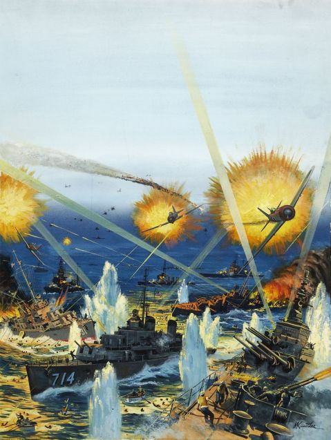 Mort Kunstler, America's Worst Naval Defeat, Stag cover, May, 1963. Via Heritage Auctions. http://fineart.ha.com/itm/illustration-art/mort-kunstler-american-b-1931-america-s-worst-naval-defeat-stag-cover-may-1962-gouache-on-boar/a/7001-87028.s